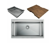 Appliances Online Artinox layer 74 workstation sink with strainer and chopping board LACCSBR074