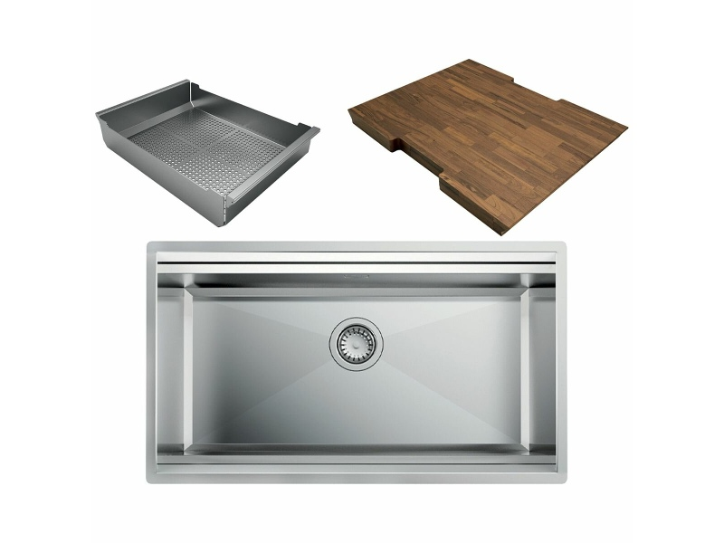 Artinox layer 74 workstation sink with strainer and chopping board LACCSBR074