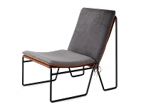 Appliances Online Reddie Willy Sling Lounge Chair Grey and Tan Top Black Base