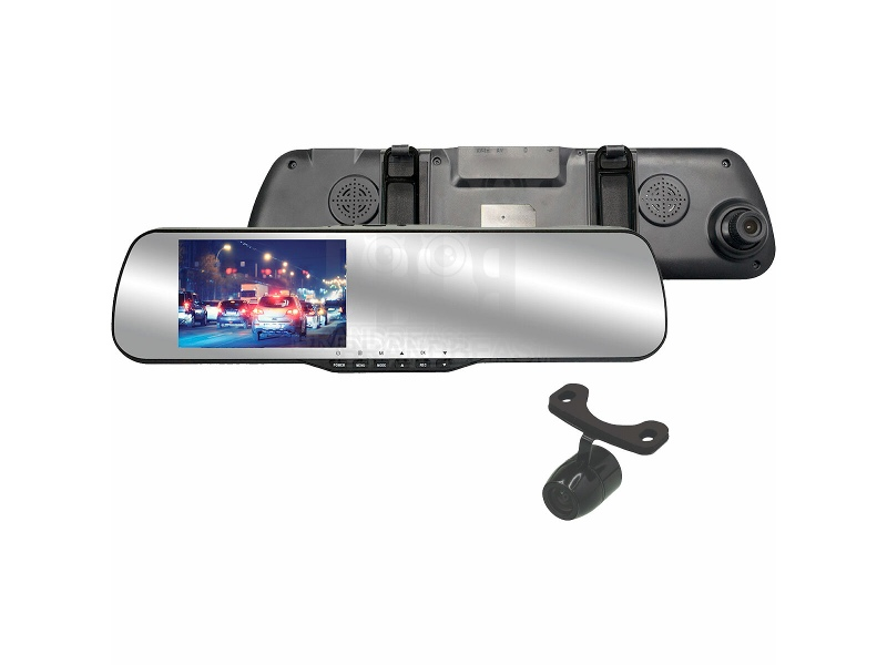 Parkmate Rear View Mirror Monitor with Built-In Dash Cam and Reverse Camera Pack MCPK-43DVR