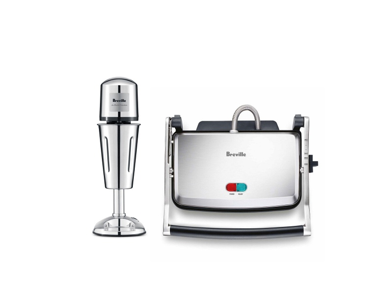 Breville Milkshake Maker and 2 Slice Sandwich Maker Pack MS400DCROBSG220BSS