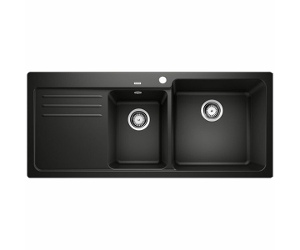 Blanco Bowl and 3/4 Inset Sink with Right Hand Drainer Black NAYA8SBK5