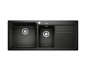 Blanco Bowl and 3/4 Inset Sink with Left Hand Drainer Black NAYA8SBRK5