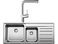 Appliances Online Blanco NAYA9SLP-LINUS Double Bowl Right Hand Drainer Sink and Tap