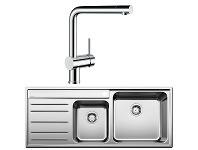 Appliances Online Blanco NAYA9SRP-LINUS Double Bowl Left Hand Drainer Sink and Tap
