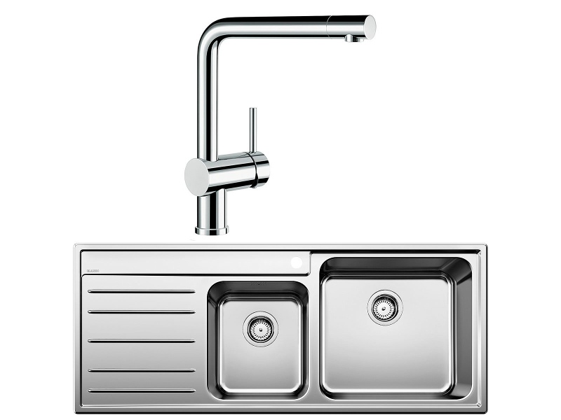 Blanco NAYA9SRP-LINUS Double Bowl Left Hand Drainer Sink and Tap