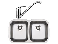 Appliances Online Blanco NIAGARAU2D-BT489 Double Bowl Undermount Sink and Tap
