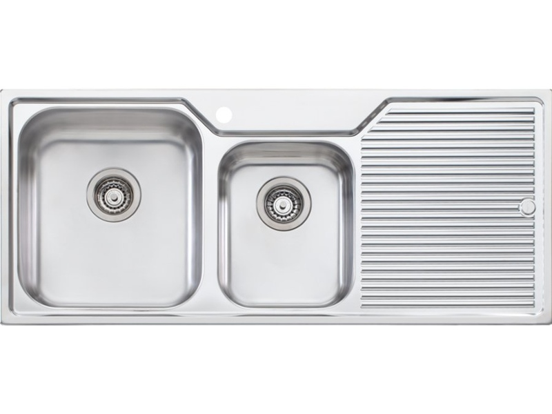 Oliveri NP611 Nu-Petite 1 and 3/4 Bowl Right Hand Drainer Topmount Sink