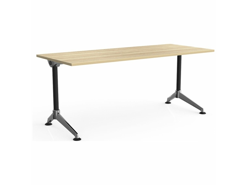 OLG Modulus Single Desk 1500x750 New Oak Worktop with Black and Chrome Frame OG_MD1575C_NO