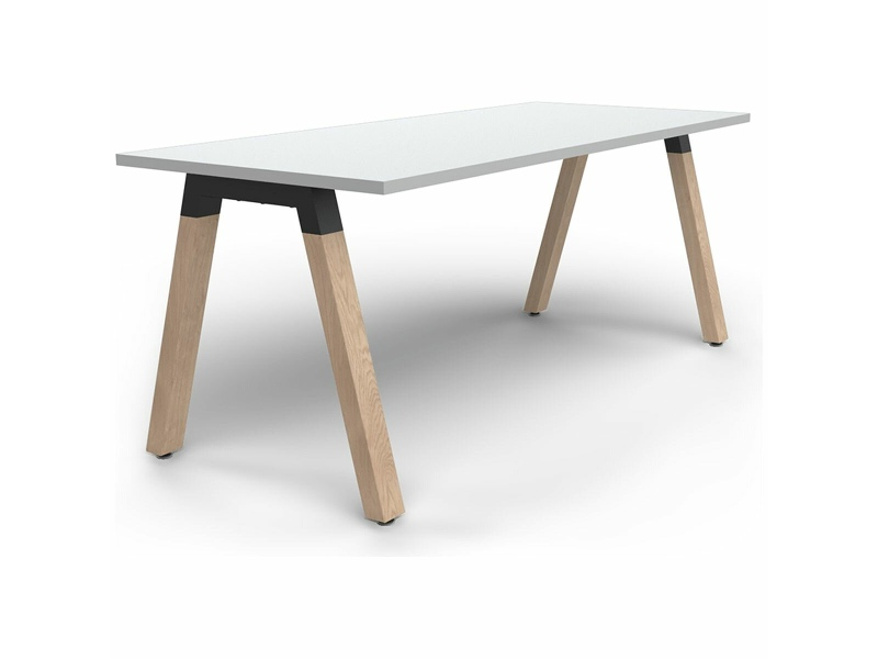 OLG Plantation Single Desk 1800x900 White Worktop with Oak Legs OG_PLSD189_W