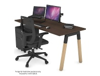 Appliances Online Jason.L 1400mm Quadro A Leg Wenge Desk with Natural Leg Black Cross Beam QDW1407.B.WE