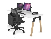 Appliances Online Jason.L 1400mm Quadro A Leg White Desk with Natural Leg Black Cross Beam QDW1407.B.WT