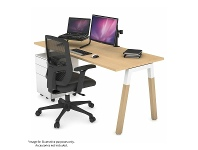 Appliances Online Jason.L 1400mm Quadro A Leg White Desk with Natural Leg White Cross Beam QDW1407.W.WT