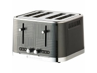Appliances Online Russells Hobbs Geo Steel 4 Slice toaster Black Stainless Steel RHT404BLK