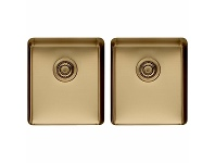 Appliances Online Titan Medium and Medium Double Bowl Sink Brass TSBR4040