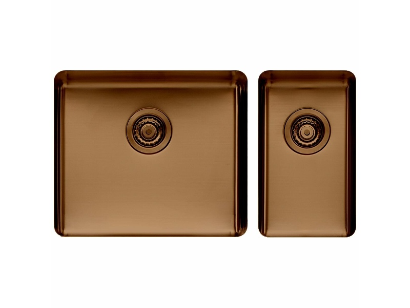Titan Large and Small Bowl Sink Cognac TSCG5228