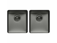 Appliances Online Titan Medium and Medium Double Bowl Sink Gunmetal TSGM4040