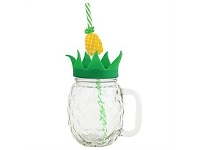 Briscoes NZ Glass Pineapple Sipper with Straw