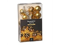 Briscoes NZ Ball LED String Christmas Lights 10 Light Gold 30cm