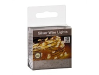 Briscoes NZ Silver Wire LED Christmas Lights 10 Bulb Warm White