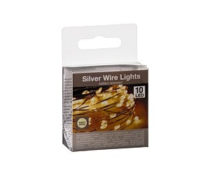 Silver Wire LED Christmas Lights 10 Bulb Warm White