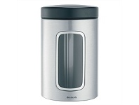 Briscoes NZ Brabantia 1.4L FStainless Steel Cannister With Black Lid