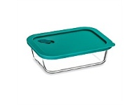 Briscoes NZ Click Clack Cook + Teal Rect Heatproof Glass Storage 1.0L
