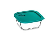 Briscoes NZ Click Clack Cook + Teal Square Heatproof Glass Storage 0.8L