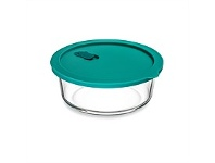 Briscoes NZ Click Clack Cook + Teal Round Heatproof Glass Storage 1.0L