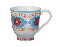 Briscoes NZ Hampton/Mason Global Folk Mug Blue/Red Floral 330ml