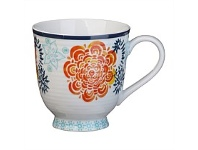 Briscoes NZ Hampton/Mason Global Folk Mug Blue/Orange Floral 330ml
