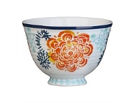Briscoes NZ Hampton/Mason Global Folk Fruit Bowl Blue/Orange Floral 11cm