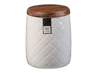 Briscoes NZ Ciroa Quilt White Porcelain Storage Jar 16.5cm