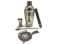 Briscoes NZ Urban Loft Classic Cocktail Shaker 5 Piece Set Silver 550ml