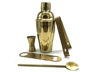 Briscoes NZ Urban Loft Classic Cocktail Shaker 5 Piece Set Gold 550ml