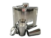 Briscoes NZ Urban Loft Classic Flask & Funnel 4 Piece Set Silver 6oz