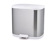Briscoes NZ Joseph Joseph Split Steel Waste Bin Silver & White