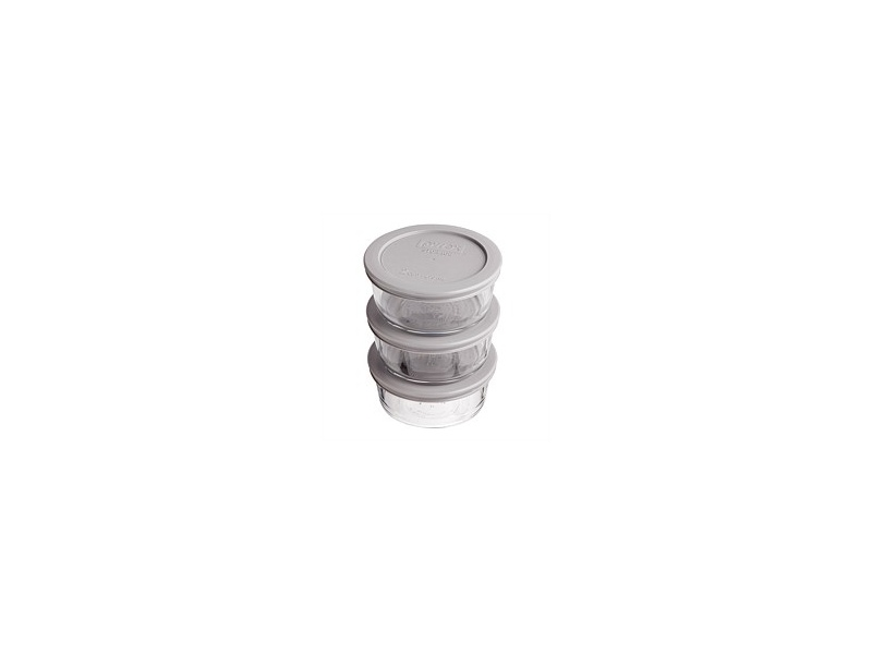 Pyrex Round With Grey Lid Set 3 470ml 2 Cup