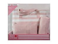 Briscoes NZ Red Stone Pink/White Stripes 3 PC Weekender Set