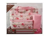 Briscoes NZ Red Stone Rose Floral 3 PC Weekender Set