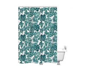 Just Home Shower Curtain Plant Lady White/Green 180x180cm