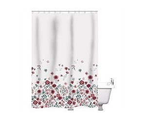 Just Home Shower Curtain Poppies Multi 180x180cm
