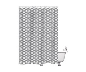 Just Home Shower Curtain Aspyn White/Grey 180x180cm