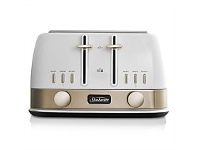 Briscoes NZ Sunbeam New York Toaster White/Gold 4 Slice TA4440WG