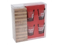 Briscoes NZ Drunken Towers Game with 4 Shot Glasses