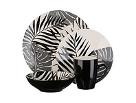 Briscoes NZ Thomson Palm Leaf Black Dinnerset 16 Piece