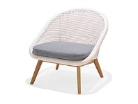 Briscoes NZ Amalfi Ludlow Outdoor Sofa Chair Eggshell & White Open Weave