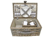 Briscoes NZ Tablefair Willow/Wood Chip Picnic Basket For 2 Grey