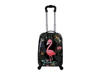 Briscoes NZ Hopscotch ABS Cabin Trolleycase Flamingo Black