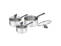 Briscoes NZ Tefal Daily Cook Stainless Steel Saucepan Set 3 Piece